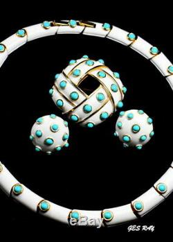 Alfred Philippe Trifari White Enamel Faux Turquoise Brooch Necklace Earrings