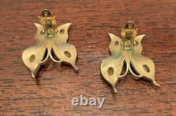 Antique Crown Trifari Alfred Philippe Satin Butterfly Rhinestone Clip Earrings