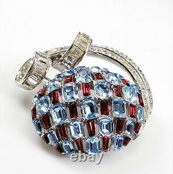 Antique RARE Crown Trifari Alfred Philippe Ruby Red Blue Silver Tone Brooch