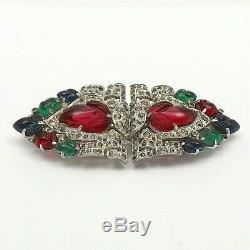 Art Deco Trifari Alfred Philippe KTF Tutti Frutti Duette Clips Carved Glass Pin