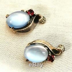 Blue Faux Moonstone Crown Trifari Alfred Philippe Sterling Silver Earrings