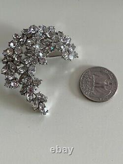 CROWN TRIFARI Alfred PHILIPPE VINTAGE Clear Rhinestone Crescent Brooch Pin