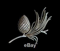 CROWN TRIFARI Alfred Philippe'Egret' Pine Cone Brooch U. S. A. Circa 1963