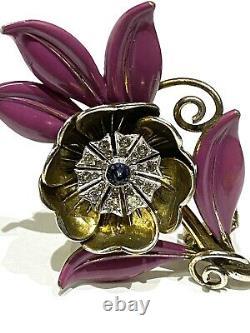 CROWN TRIFARI Alfred Philippe Enamel Sapphire Rhinestone FLOWER Fur Clip Pin