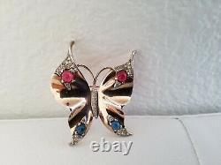 CROWN TRIFARI Alfred Philippe sterling silver rhinestone butterfly brooch