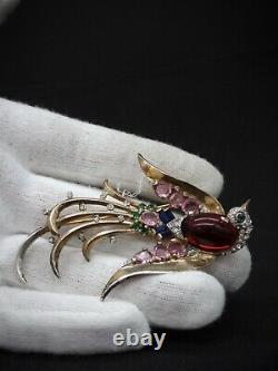 CROWN TRIFARI c1945 Sterling ALFRED PHILIPPE JELLY BELLY LYRE BIRD BROOCH