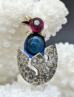 Collectible Trifari Alfred Philippe Miniature Sapphire, Ruby Chick in Egg Brooch