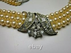 Crown Alfred Philippe Trifari 3 Strand Pearl Rhinestone Pave Necklace Earrings