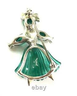 Crown TRIFARI ALFRED PHILIPPE Green Glass Pom Pom Tom Tom Rag Doll Pins CT