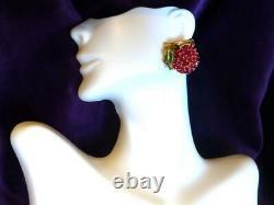 Crown TRIFARI Alfred Philippe Ruby & Enamel Cherries on a Branch Clip Earrings