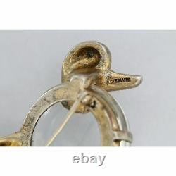 Crown TRIFARI Alfred Philippe Sterling Jelly Belly Poodle Dog Vintage Brooch Pin