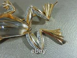 Crown Trifari Alfred Philippe 1943 Sterling Lucite Jelly Belly Frog Brooch