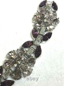 Crown Trifari Alfred Philippe Amethyst & Clear Rhinestone Flower Bracelet