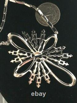 Crown Trifari Alfred Philippe Baguette & Rhinestone Bow & Flower Necklace