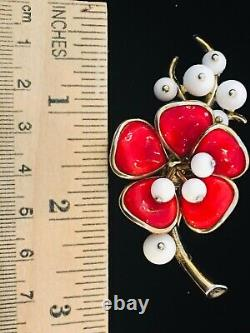 Crown Trifari Alfred Philippe Camellias Poured Glass Brooch Pin and Earrings
