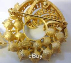 Crown Trifari Alfred Philippe Clear Rhinestone Pin Brooch Clip Earrings Gorgeous