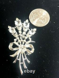 Crown Trifari Alfred Philippe Crystal Inset Flower Bouquet Figural Brooch 1941