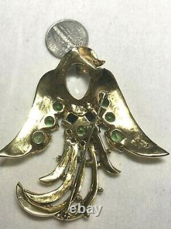 Crown Trifari Alfred Philippe Design Lyre Bird Figural HUGE Jelly Belly Brooch