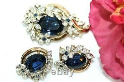 Crown Trifari Alfred Philippe Empress Eugene Rhinestones Earrings Set Fsd
