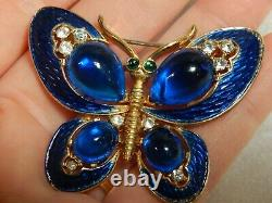 Crown Trifari Alfred Philippe Enameled Cabochon Butterfly Jelly Belly Guilloche