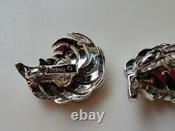 Crown Trifari Alfred Philippe Feather Plume Brooch And Earrings Rhinestone SET