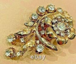 Crown Trifari Alfred Philippe Gold & Diamond Mint Fur Clip BIN