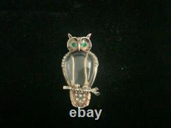 Crown Trifari Alfred Philippe Jelly Belly Owl Fur Clip/Pin Sterling Rare