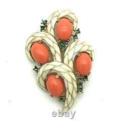 Crown Trifari Alfred Philippe L'Orient Brooch Enamel Coral Green Rare Vintage