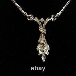 Crown Trifari Alfred Philippe Necklace Pat Pend Rhinestone Bride Vintage Jewelry