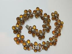 Crown Trifari Alfred Philippe Necklace, Poured Glass Topaz Color Flowers, Nice