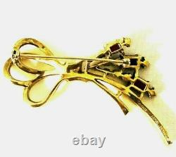 Crown Trifari Alfred Philippe Plated Gold Tone Bow & Flower Spray Brooch