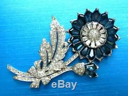 Crown Trifari Alfred Philippe Rhodium Sapphire Blue & Clr Rhinestones Fur Clip