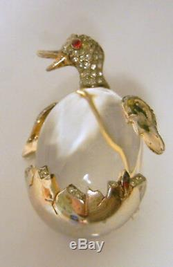Crown Trifari Alfred Philippe Sterling Book Pc Jelly Belly Duck Brooch Pin RARE