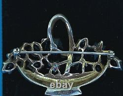 Crown Trifari Alfred Philippe Sterling Crystals Sapphire Flower Basket Brooch