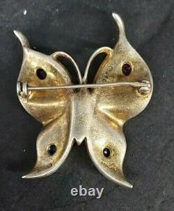 Crown Trifari Alfred Philippe Sterling Jeweled Butterfly Brooch VC034sx