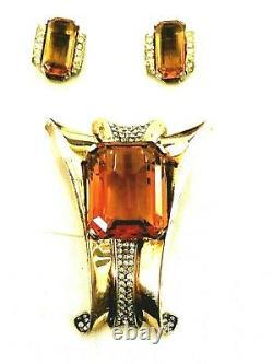 Crown Trifari Alfred Philippe Sterling Silver Amber Rhinestone Brooch & Earrings