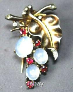 Crown Trifari Alfred Philippe Sterling Silver Faux Moonstone Fur Pin Brooch