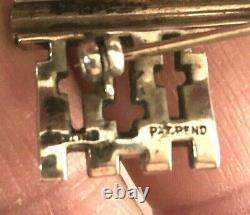 Crown Trifari Alfred Philippe Sterling Silver Figural Crowned Key Brooch