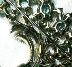 Crown Trifari Alfred Philippe Sterling Vermeil Aquamarine Rhinestone Brooch