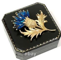 Crown Trifari Brooch Teal Rhinestones Scottish Thistle Pin Alfred Philippe RARE