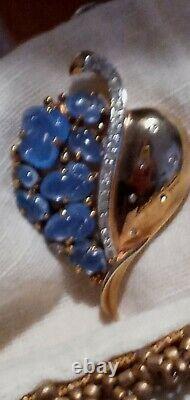 Crown Trifari Faux Blue Moonstone Brooch Fur Pin Alfred Philippe