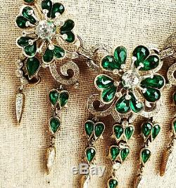 Crown Trifari Green Pave Teardrop Rhinestone Flowers Necklace Alfred Philippe