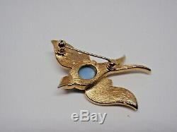 Crown Trifari Pin Brooch Blue Jelly Belly Bird Gold Alfred Philippe Book Piece