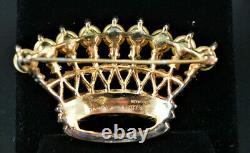 Crown Trifari Sterling'alfred Philippe' Jeweled Faux Pearls Crown Brooch Taf7