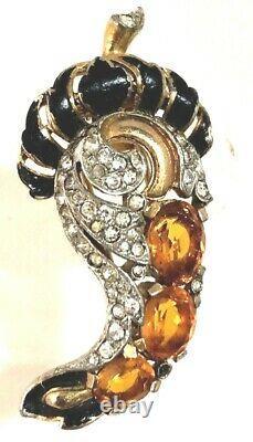 DIVINE Orange/Topaz & Rhinestone Alfred Philippe Crown Trifari Fur Pin or Brooch