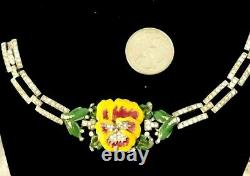 EXQUISITE Crown Trifari Alfred Philippe Rhinestone Deco Bracelet Enameled Pansy