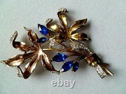 EXTREMELY RARE 1940's CROWN TRIFARI ALFRED PHILIPPE HALLMARKED PAVE BROOCH/PIN