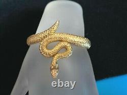Estate Crown Trifari Alfred Philippe Gold Tone Coiled Snake Bracelet Tab5