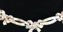 Exceptional Alfred Philippe Crown Trifari Tiny Bow Rhinestone Embedded Necklace