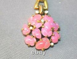 Exquisite Crown Trifari Alfred Philippe Pink Fruit Salad Pendant Necklace